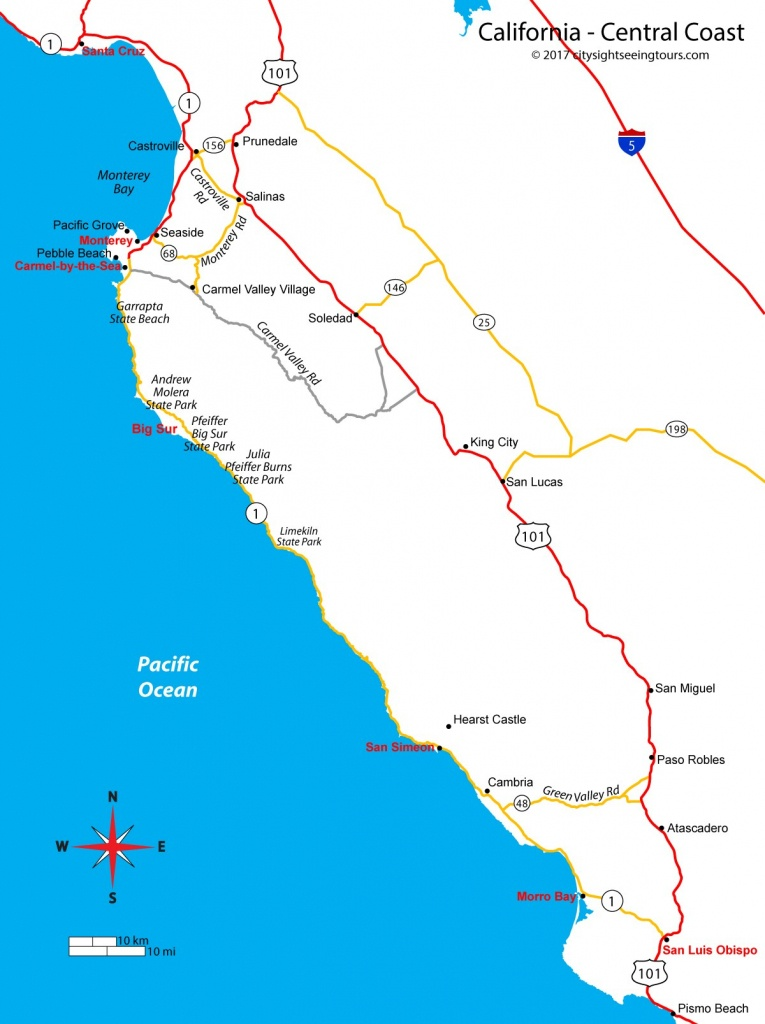 Map Of California's Central Coast - Big Sur, Carmel, Monterey - Map Of California Coast Cities