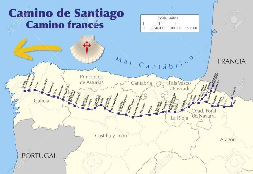 Map Of Camino De Santiago. Map Of Saint James Way With All The.. - Printable Map Of Camino De Santiago