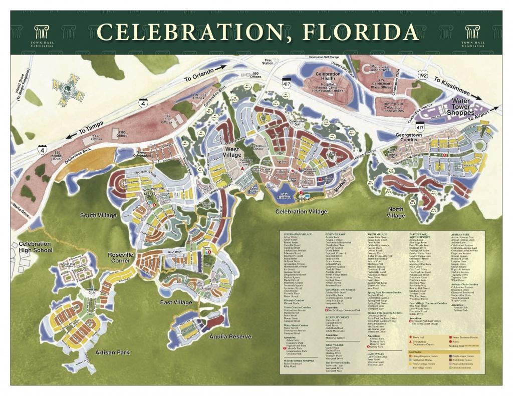 Map Of Celebration Streets. | Celebration, Florida | Celebration - Celebration Florida Map