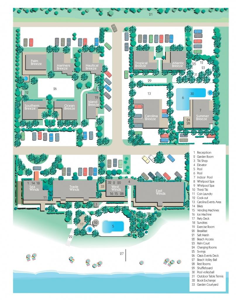 Map Of Complex- The Winds Resort, Ocean Isle Beach Nc - Printable Map Of Ocean Isle Beach Nc