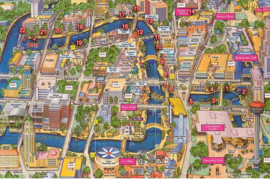 Map Of Downtown And Sa River. | San Antonio, Tx. & Surrounding Areas - Map Of Downtown San Antonio Texas