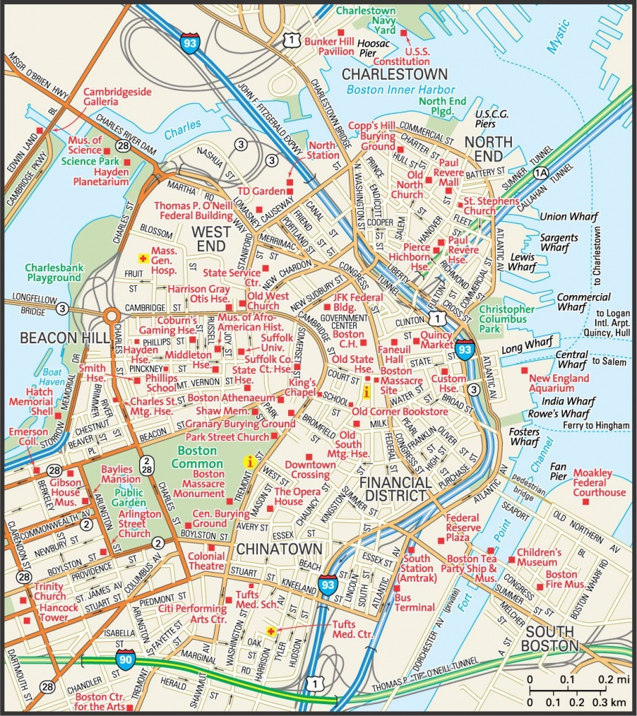Map Of Downtown Boston | Downtown Boston Street Map | Places - Printable Map Of Boston Attractions