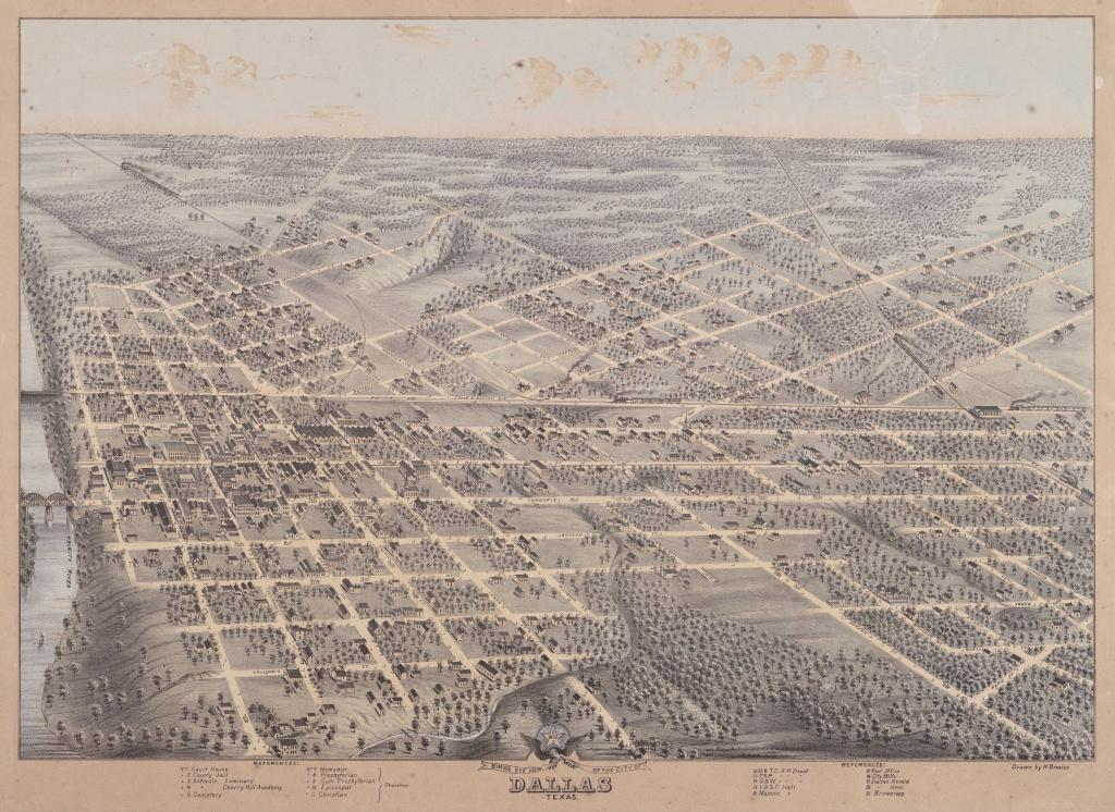 Map Of Downtown Dallas (1872) : Dallas - Map Of Downtown Dallas Texas