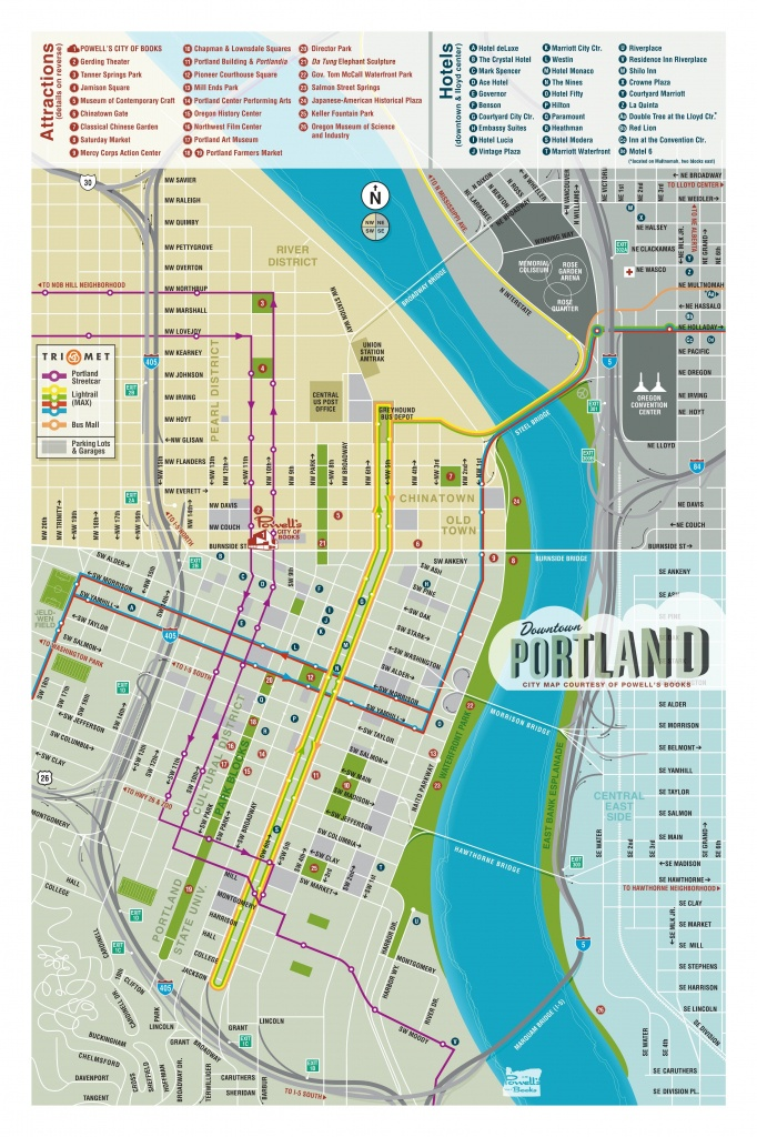 Map Of Downtown Portland - Courtesy Of Powell's Books | Maps In 2019 - Printable Map Of Portland Oregon