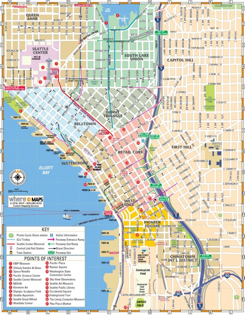 Map Of Downtown Seattle: Interactive And Printable Maps | Wheretraveler - Printable Map Of Seattle