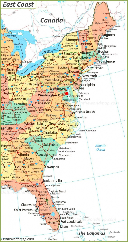 Map Of East Coast Of The United States - Printable Map Of Eastern United States