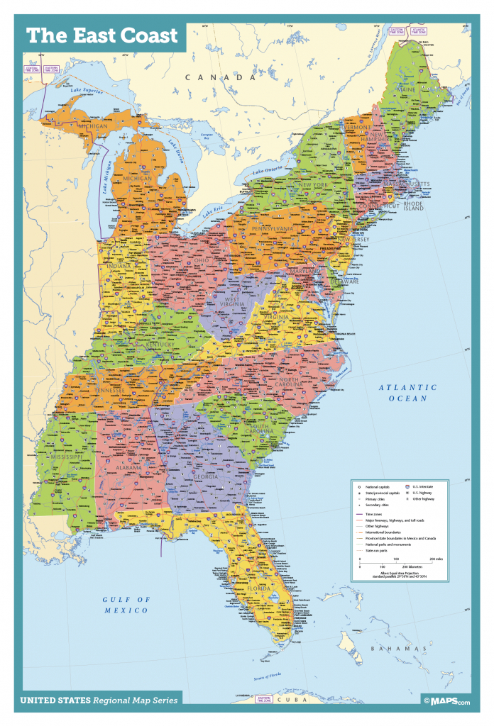 Map Of East Coast Usa States With Cities Map United States Printable - Printable Map Of Usa With States And Cities