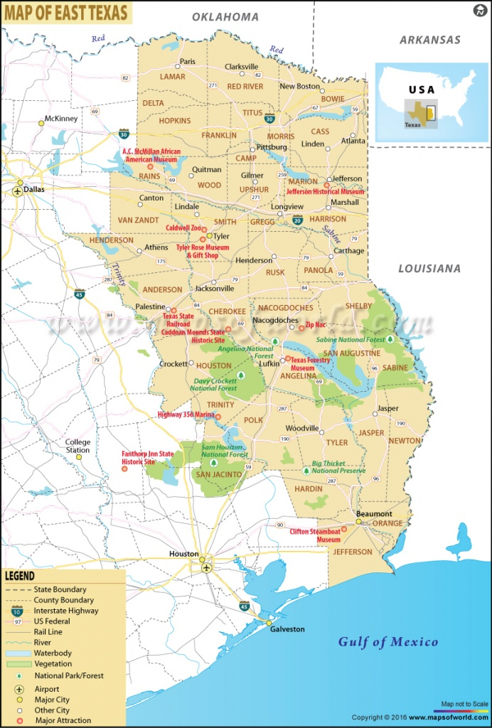 Map Of East Texas, East Texas Map - Map Of East Texas With Cities