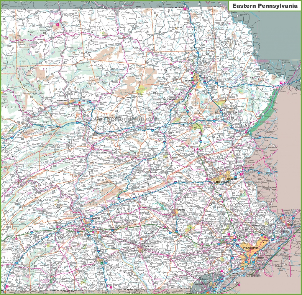 Map Of Eastern Pennsylvania - Printable Map Of Pennsylvania