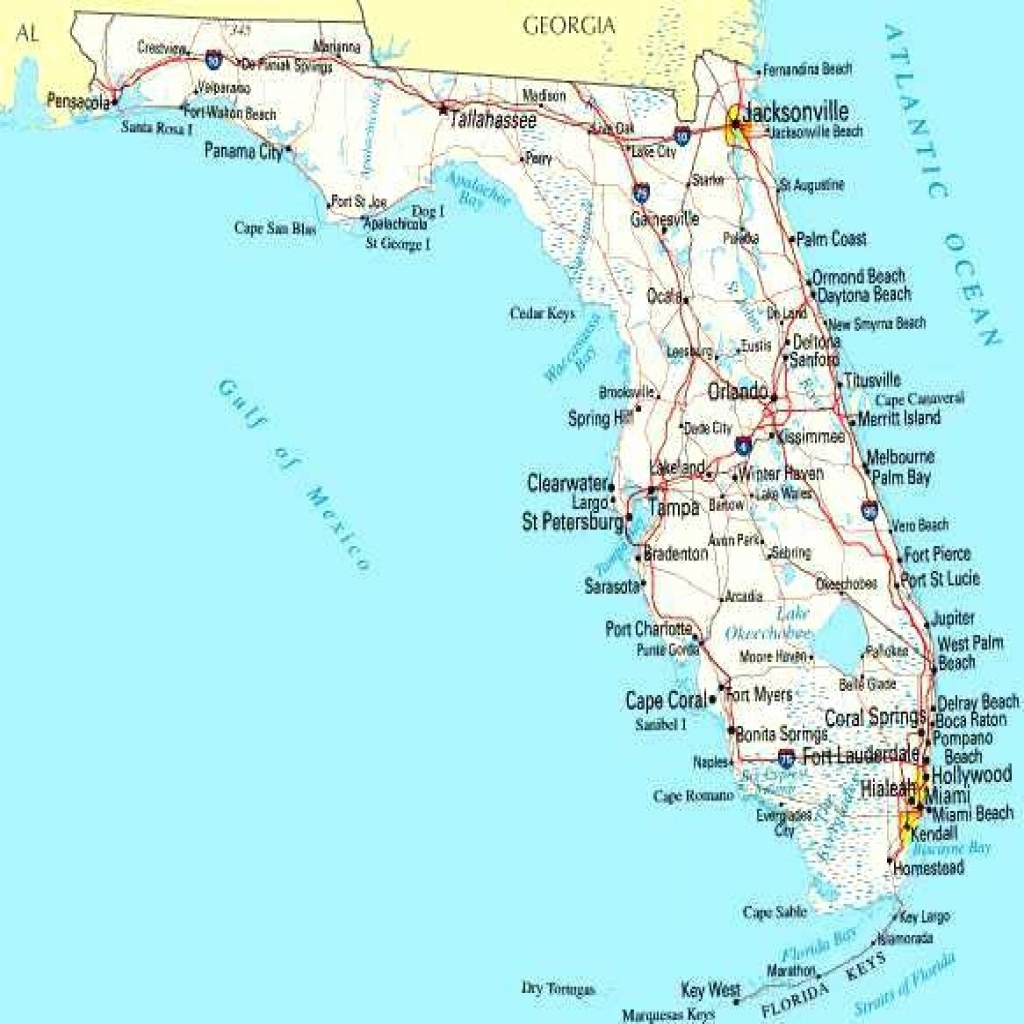 Map Of Florida Cities On Road West Coast Blank Gulf Coastline - Lgq - Map Of Florida Cities And Beaches