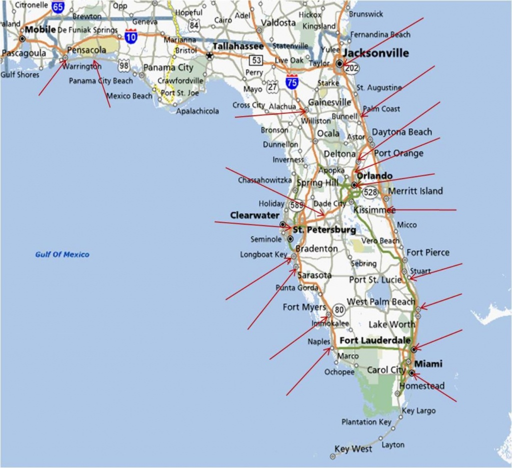 Map Of Florida Coastal Cities And Travel Information | Download Free - Map Of Florida Coastal Cities