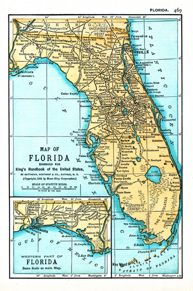 Map Of Florida Engraved For King's Handbook Of The United States - Jasper Florida Map