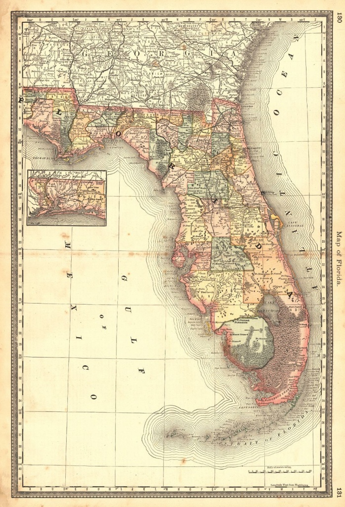 Map Of Florida. H.h. Hardesty, Rand, Mcnally & Co. 1883. From - Florida Old Map