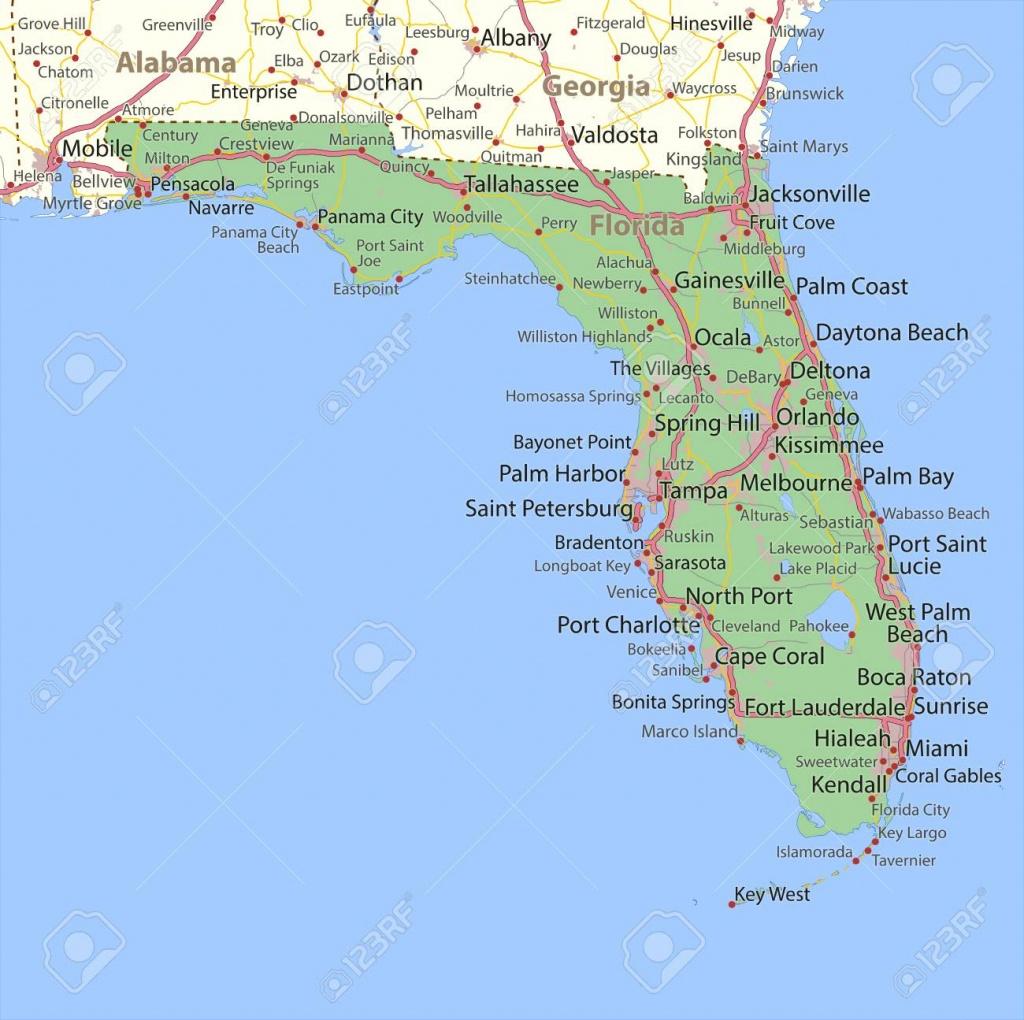 Map Of Florida. Shows State Borders, Urban Areas, Place Names - Sebastian Florida Map