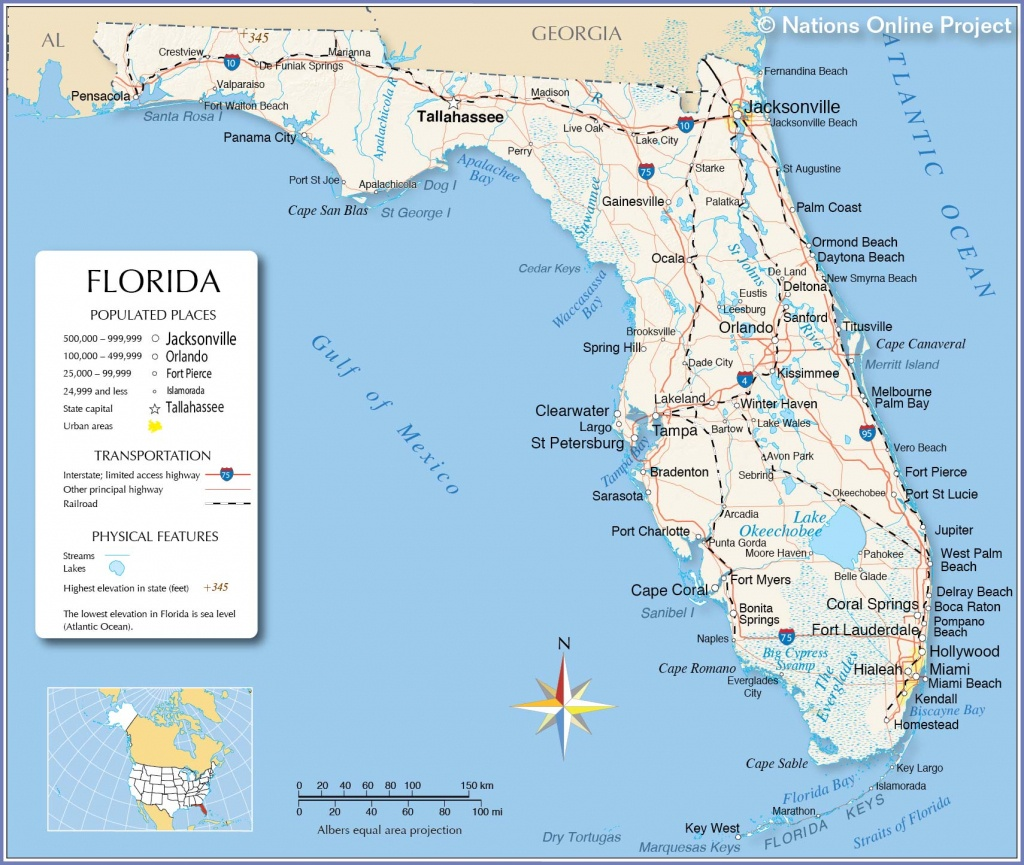 Map Of Florida State, Usa - Nations Online Project - Florida Ocean Map