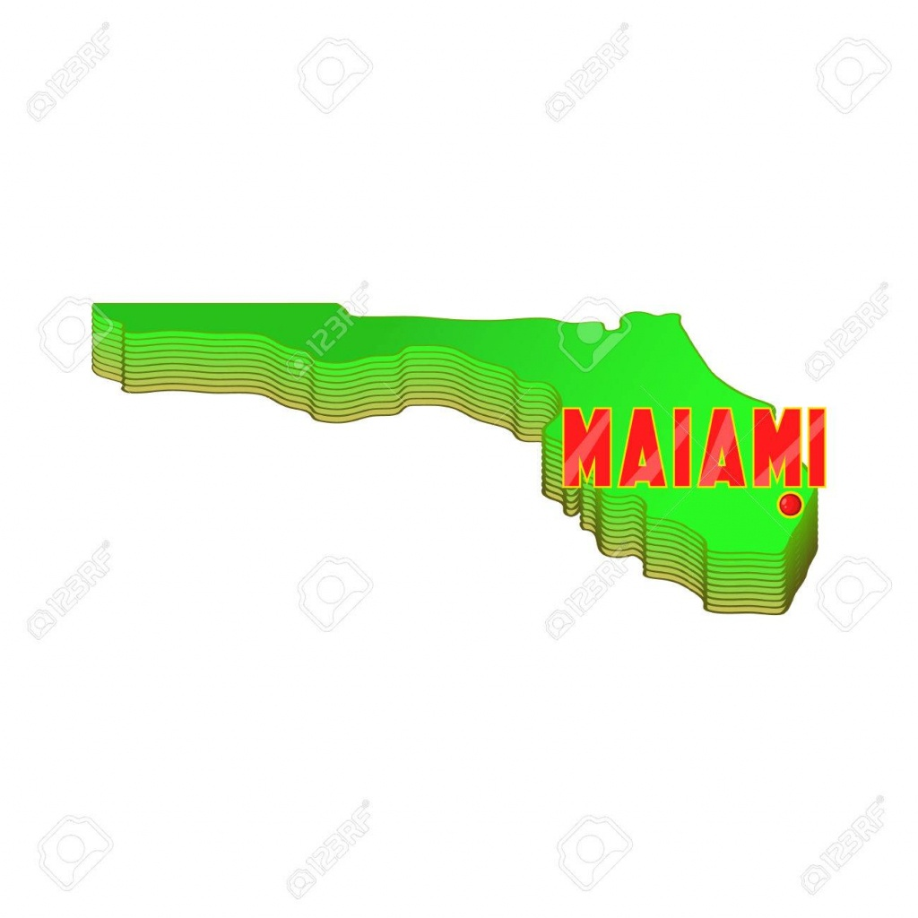 Map Of Florida With Miami Icon In Cartoon Style Isolated On White - Florida Cartoon Map
