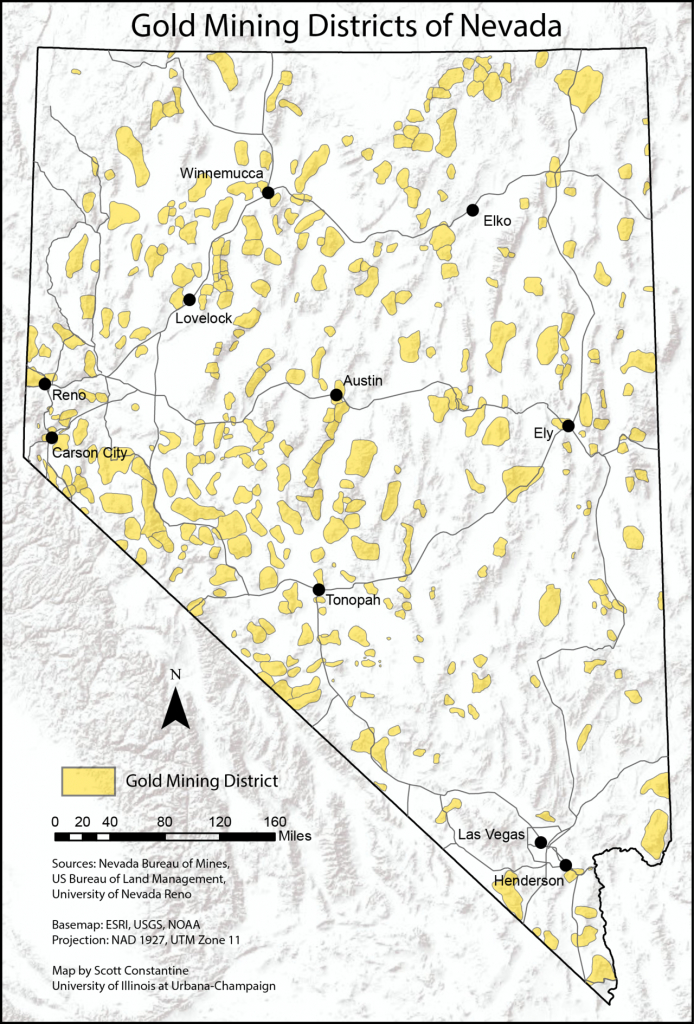 Map Of Gold Mining Districts Of Nevada, According To Nevada Bureau - Gold Prospecting Maps California