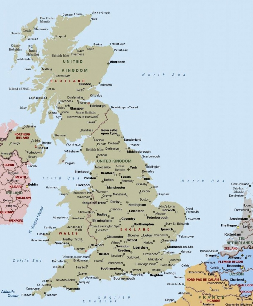 Map Of Great Britain Showing Towns And Cities - Map Of Great Britain - Printable Map Of England With Towns And Cities