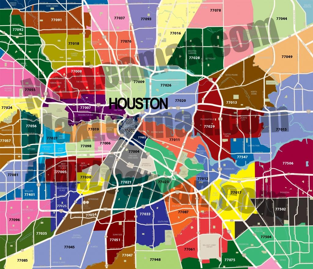 Map Of Houston Tx Surrounding Areas Today Zip Codes Countries Free - Printable Map Of Houston