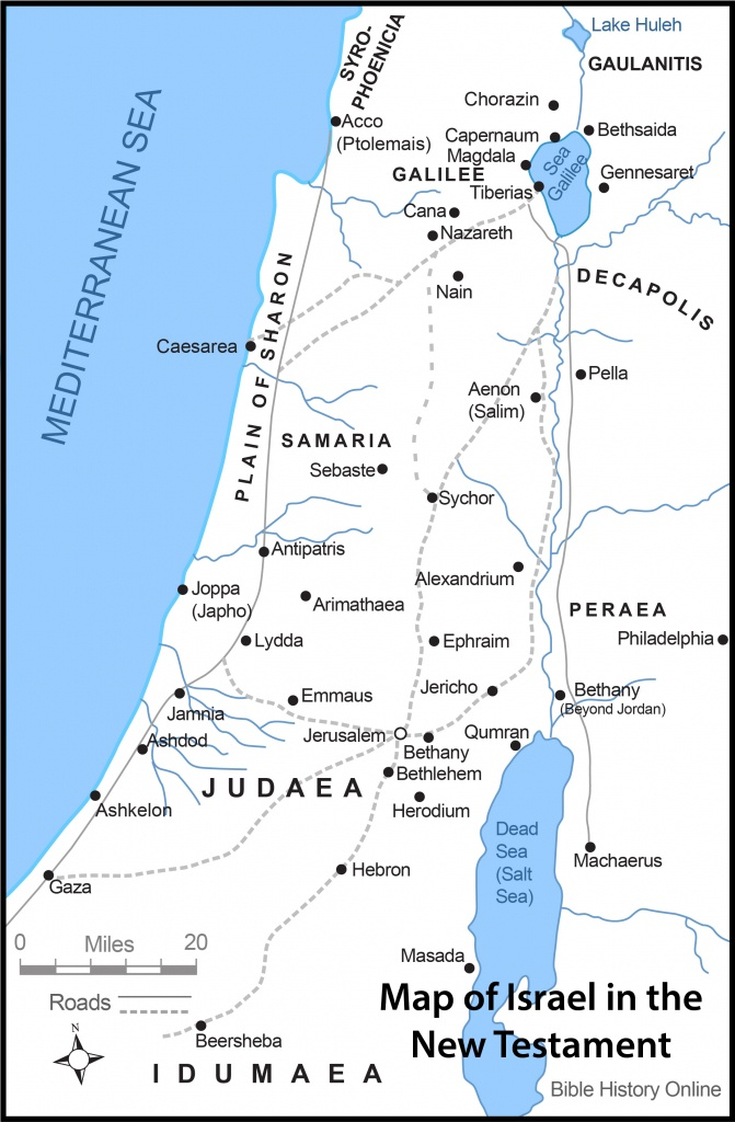 Map Of Israel In The Time Of Jesus Christ With Roads (Bible History - Printable Bible Maps For Kids