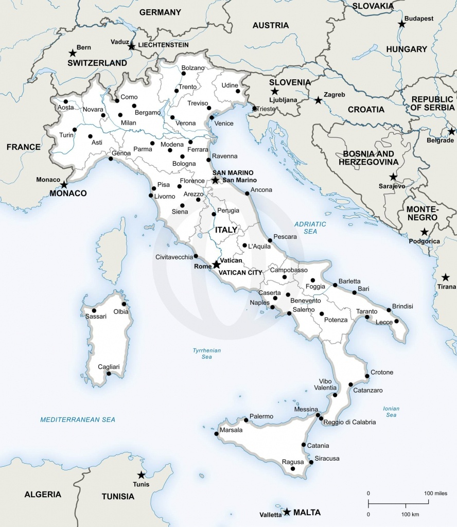 Map Of Italy Political In 2019   Free Printables   Map Of Italy - Printable Map Of Italy