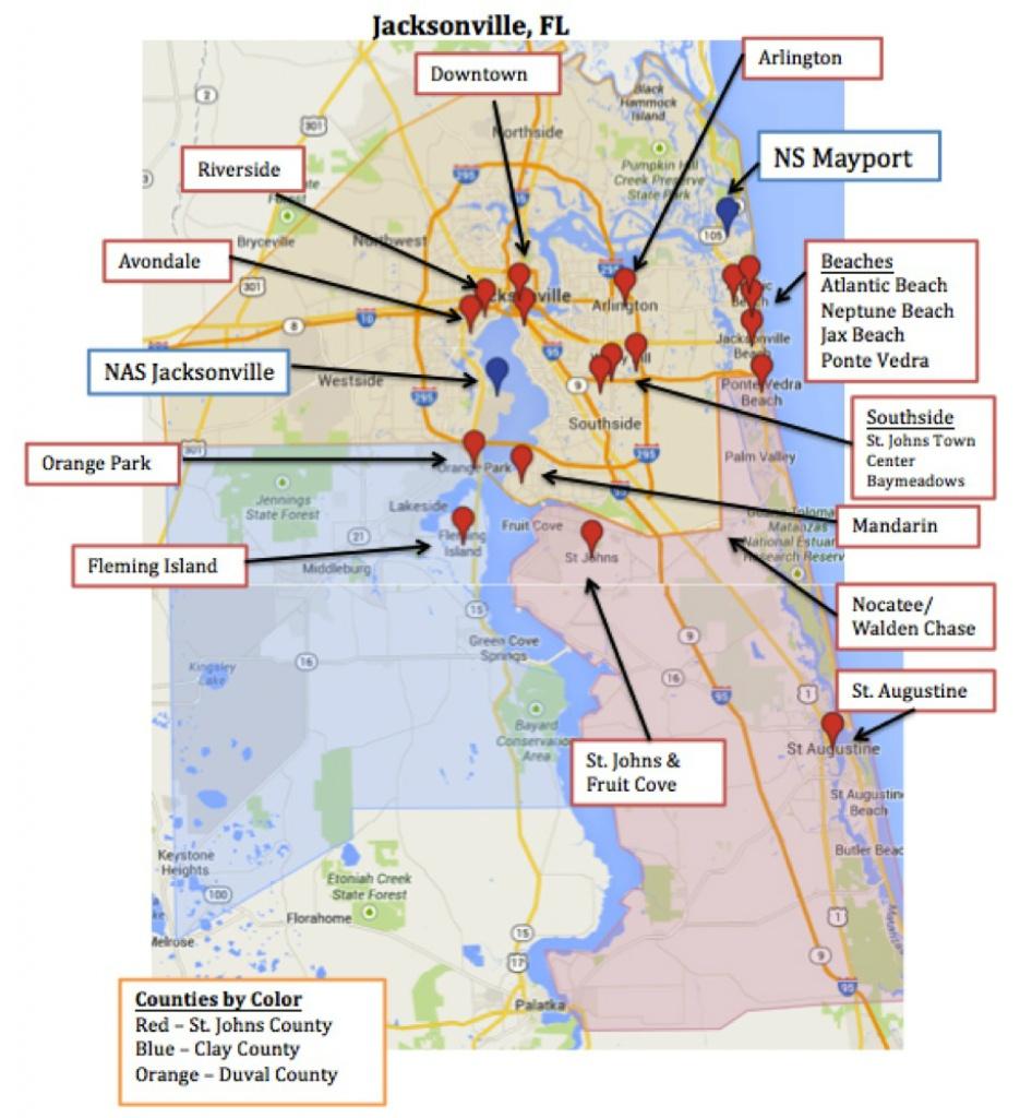 Map Of Jacksonville & Mayport, Florida | Military Town Advisor - Map To Jacksonville Florida