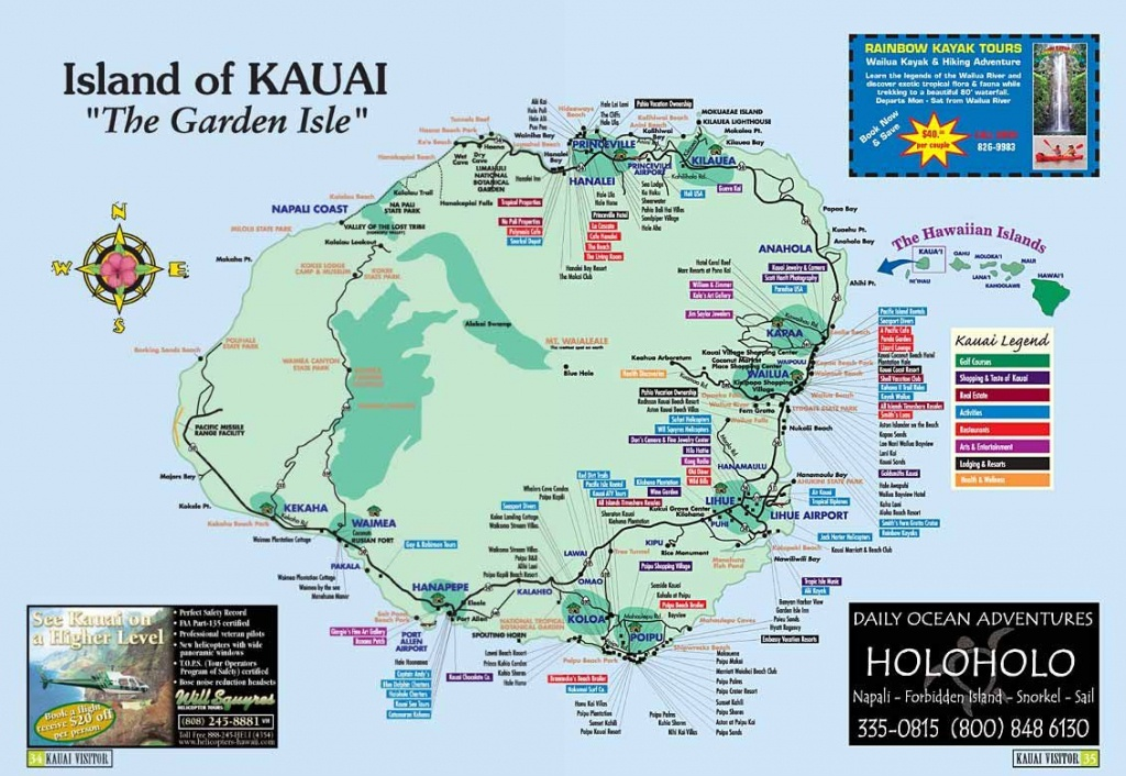 Map Of Kauai | Kauai Island, Hawaii Tourist Map See Map Details From - Printable Map Of Kauai