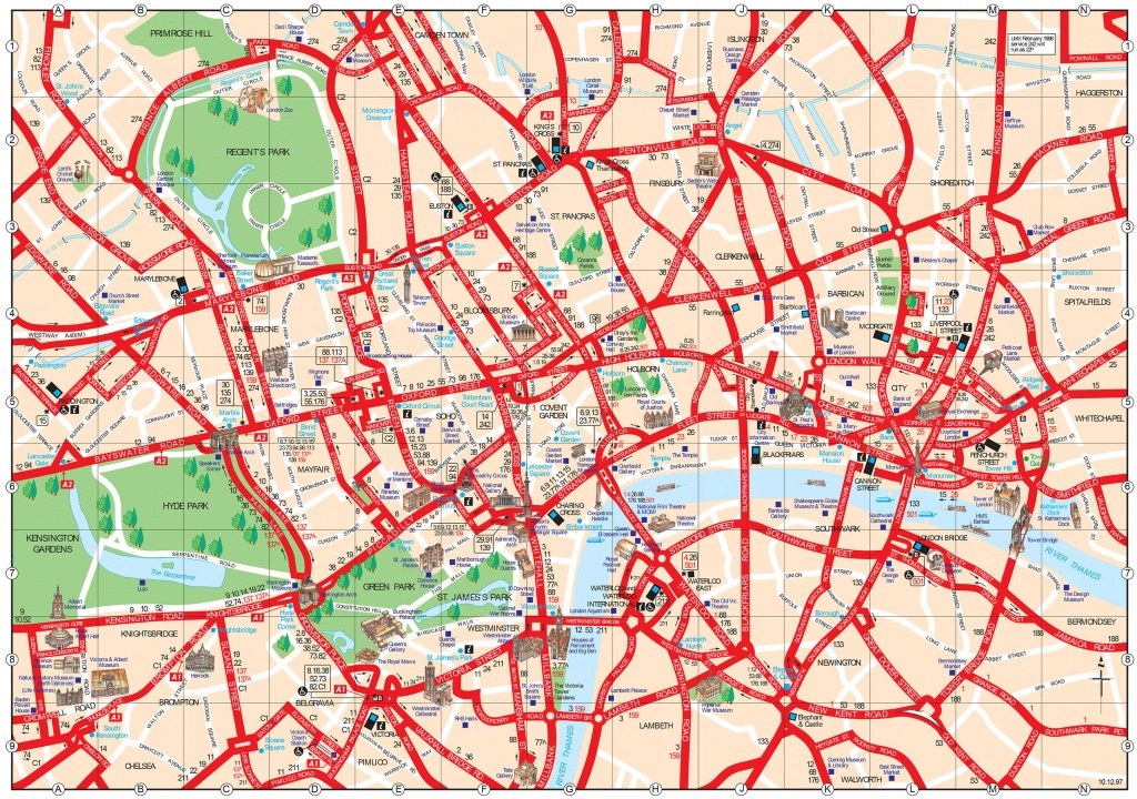 Map Of London Tourist Attractions, Sightseeing & Tourist Tour - Central London Map Printable