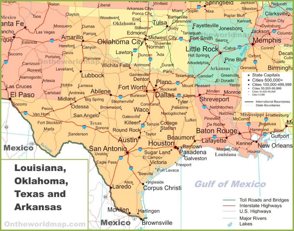 Map Of Louisiana, Oklahoma, Texas And Arkansas - Texas Louisiana Map