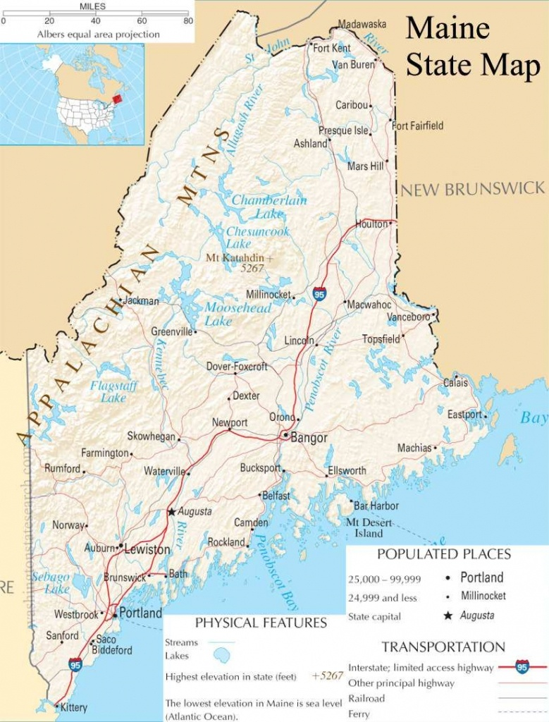 Map Of Maine   Maine State Map - A Large Detailed Map Of Maine State - Printable Road Map Of Maine