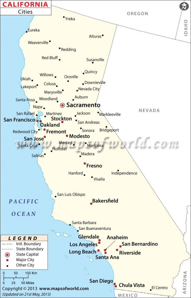 Map Of Major Cities Of California   Maps In 2019   California Map - Map Of California Cities