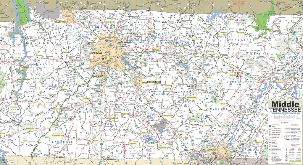 Map Of Middle Tennessee - Printable Map Of Tennessee Counties And Cities