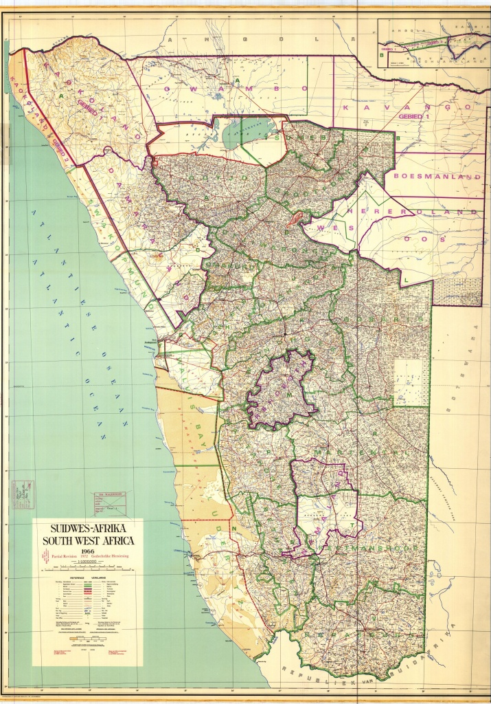 Map Of Namibia With Farm Divisions, 1966 #map #namibia | South - Printable Road Map Of Namibia