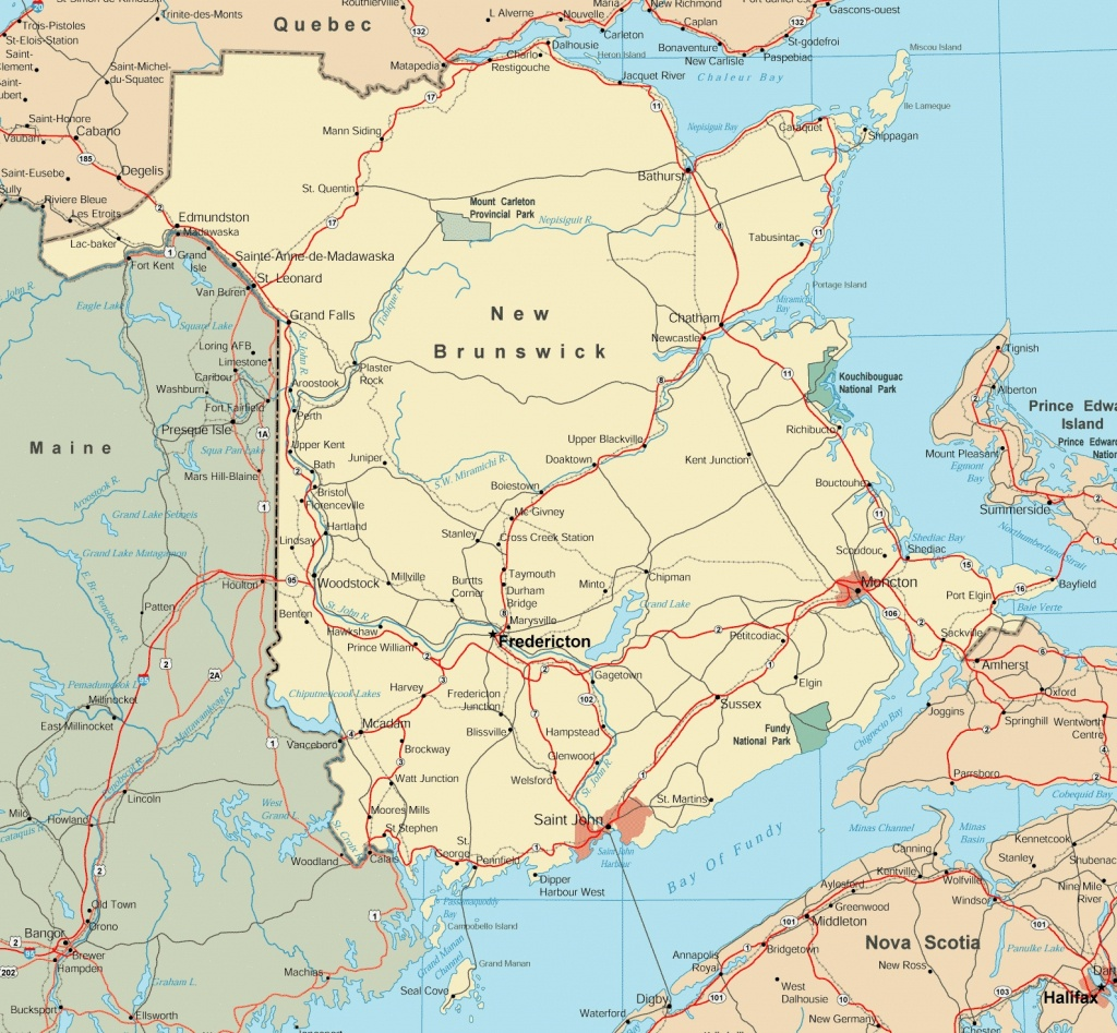 Map Of New Brunswick With Cities And Towns - Printable Map Of New Brunswick