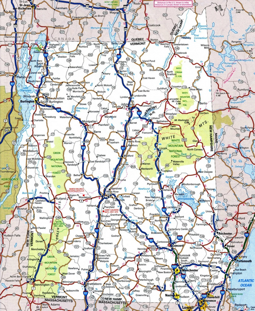 Map Of New Hampshire And Vermont - Printable Map Of Vermont