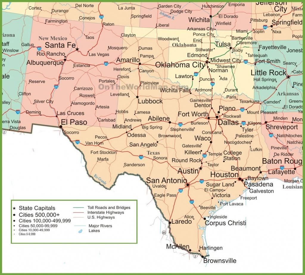 Map Of New Mexico, Oklahoma And Texas - Texas Arkansas Map