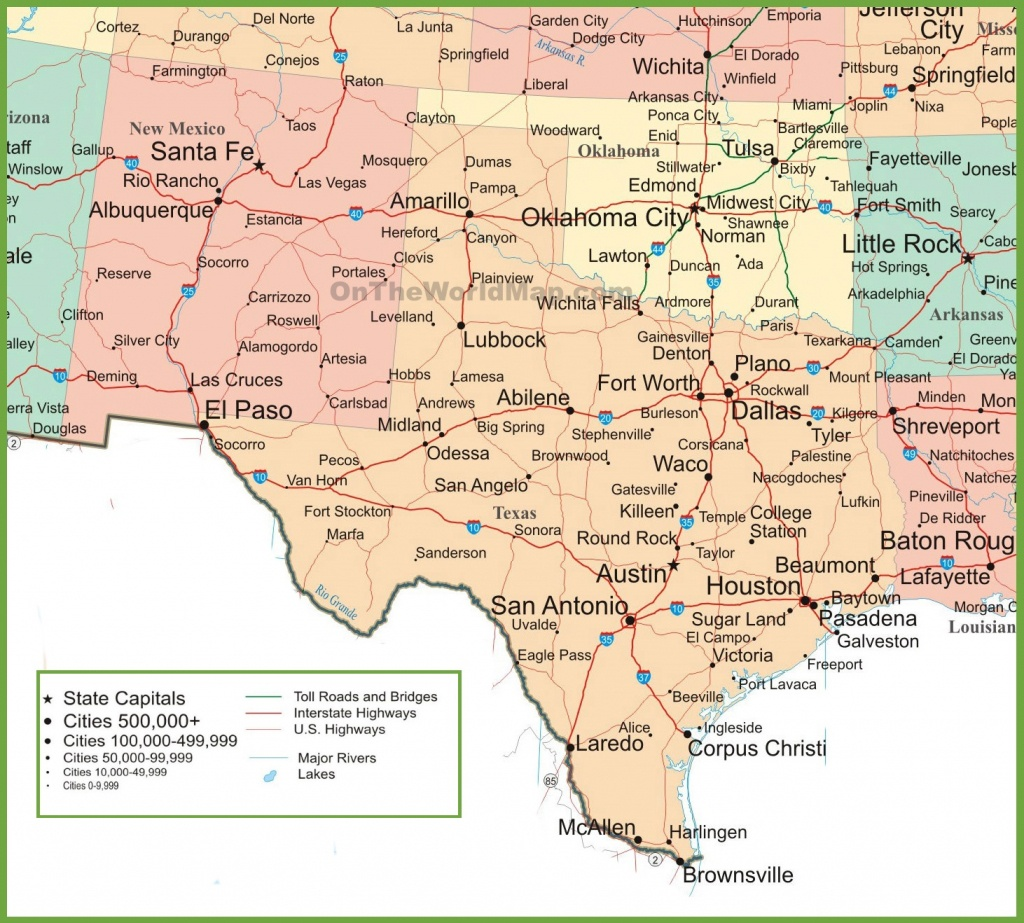Map Of New Mexico, Oklahoma And Texas - Texas Panhandle Road Map