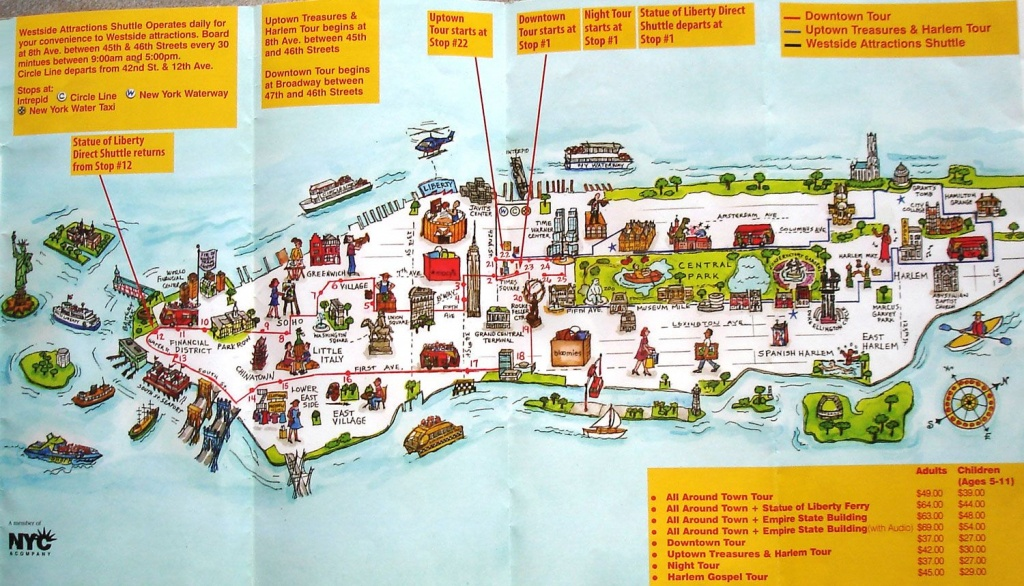 Map Of New York City Attractions Printable | Manhattan Citysites - Printable Map Of Manhattan Tourist Attractions