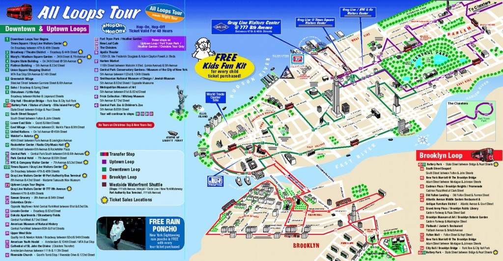 Map Of New York City Attractions Printable |  Tourist Map Of New - Printable Walking Map Of Manhattan