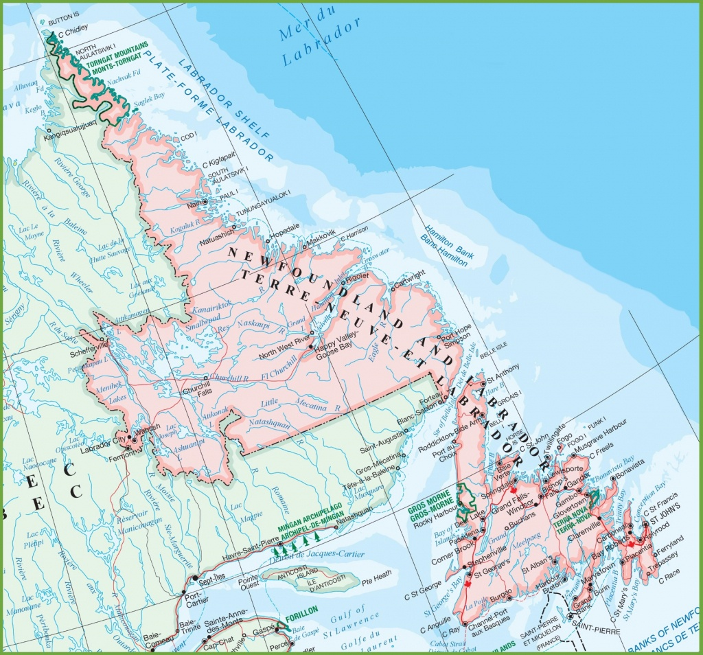 Map Of Newfoundland Canada And Travel Information | Download Free - Printable Map Of Newfoundland