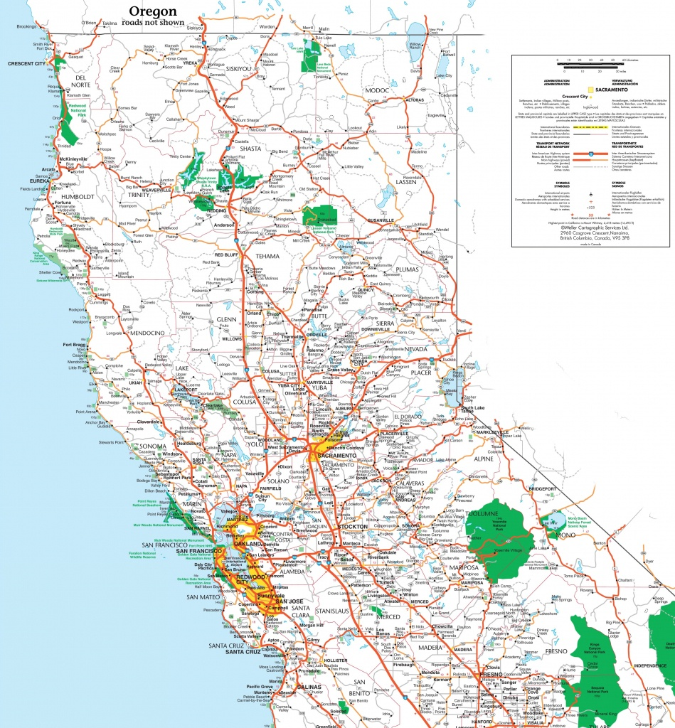 Map Of Northern California - Road Map Of Northern California Coast