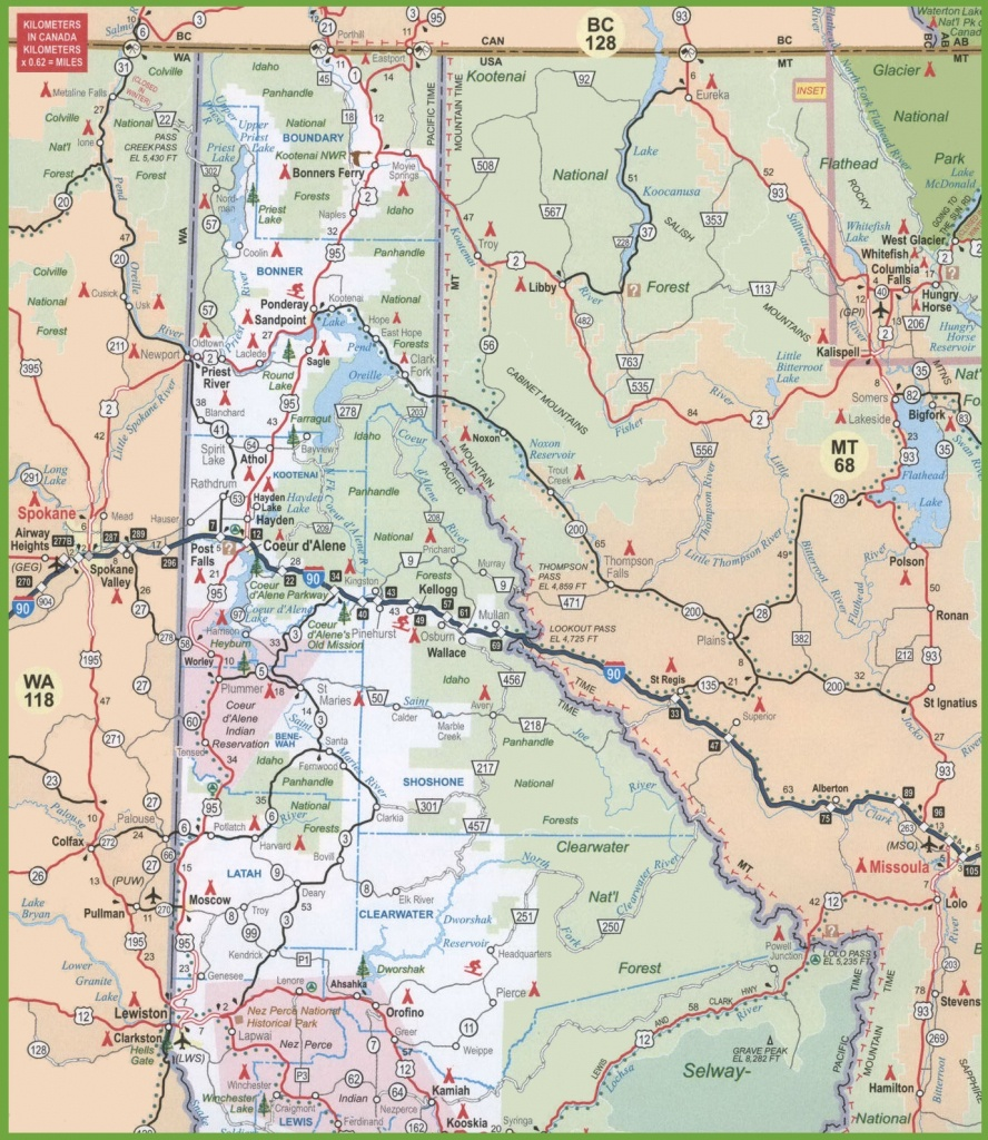 Map Of Northern Idaho - Printable Map Of Idaho