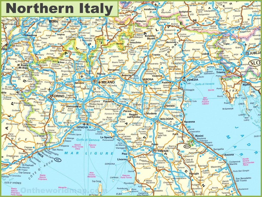 Map Of Northern Italy - Printable Map Of Northern Italy