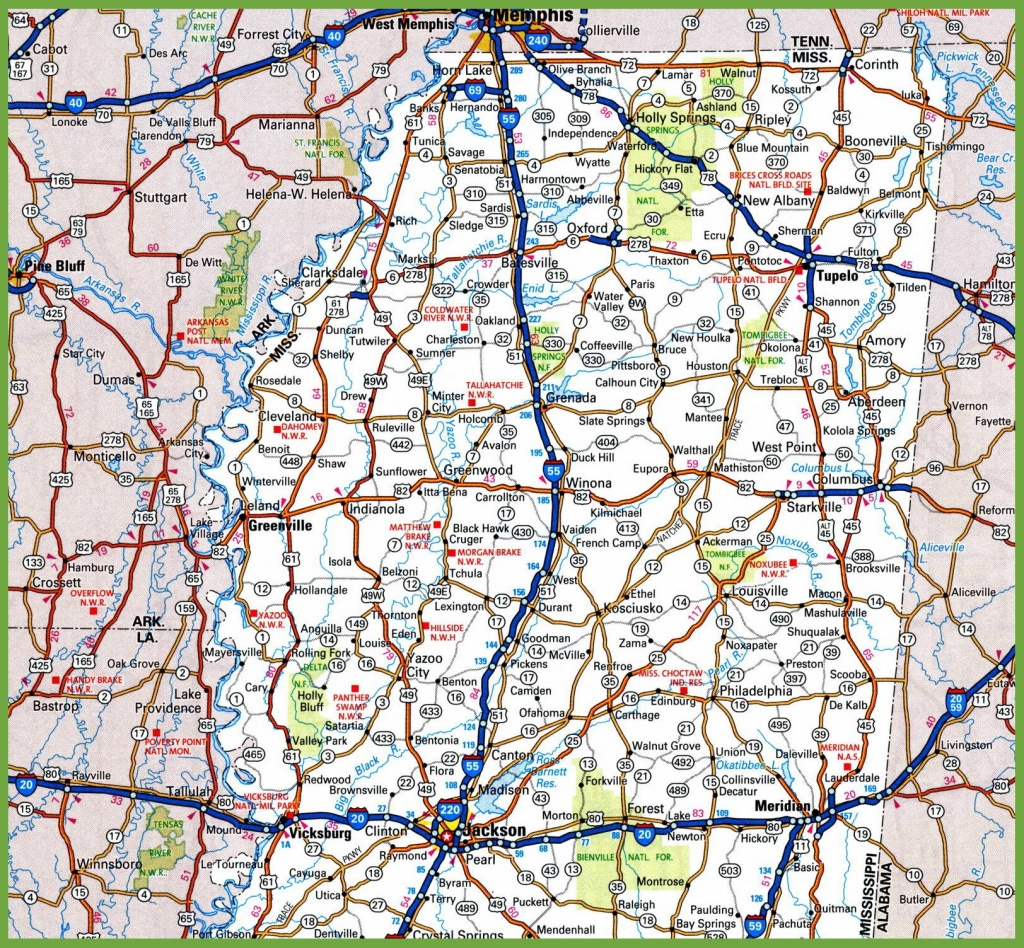 Map Of Northern Mississippi - Printable Map Of Ms