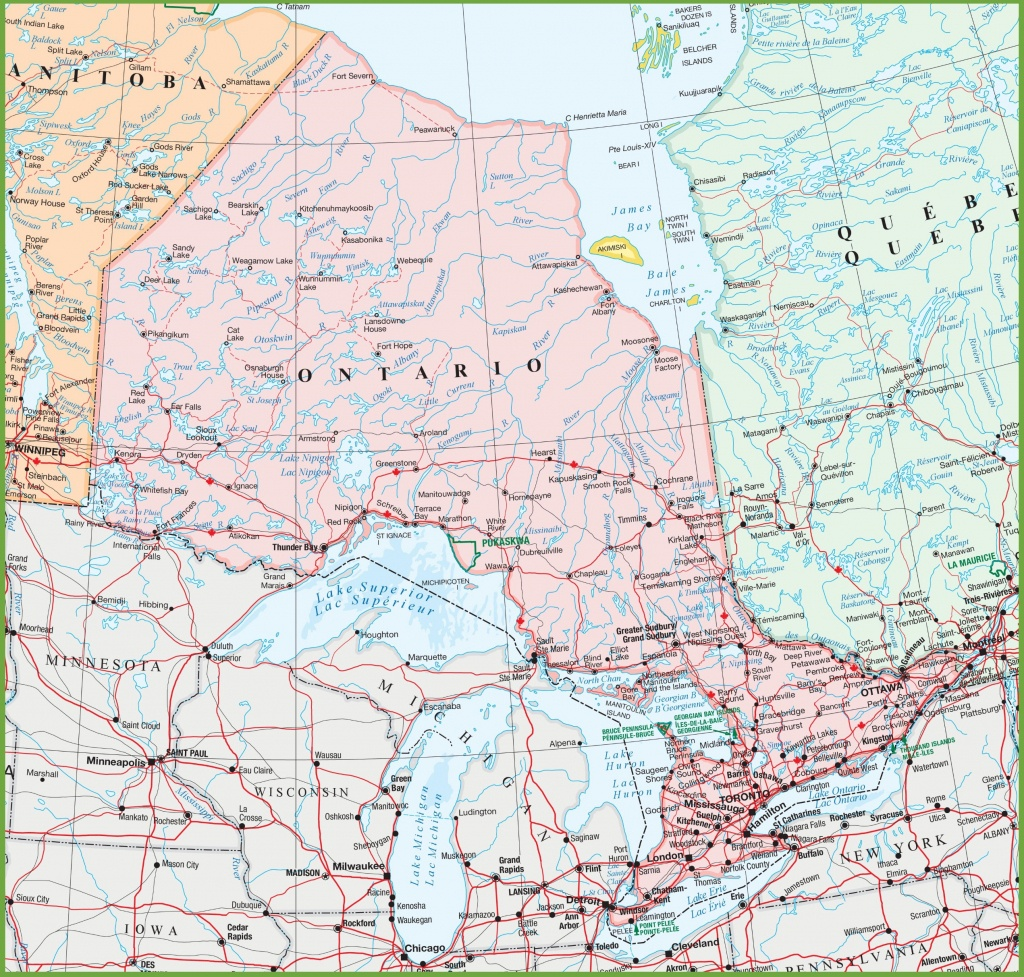 Map Of Ontario With Cities And Towns - Printable Map Of Ontario