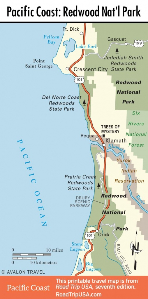 Map Of Pacific Coast Through Redwood National Park.   Pacific Coast - National Parks In Northern California Map
