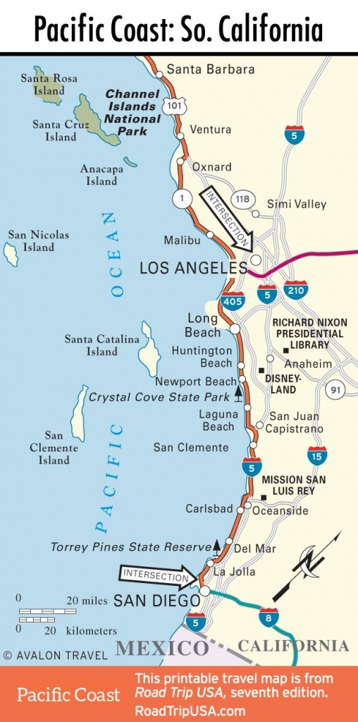 Map Of Pacific Coast Through Southern California. | Southern - Road Map Of California Coast