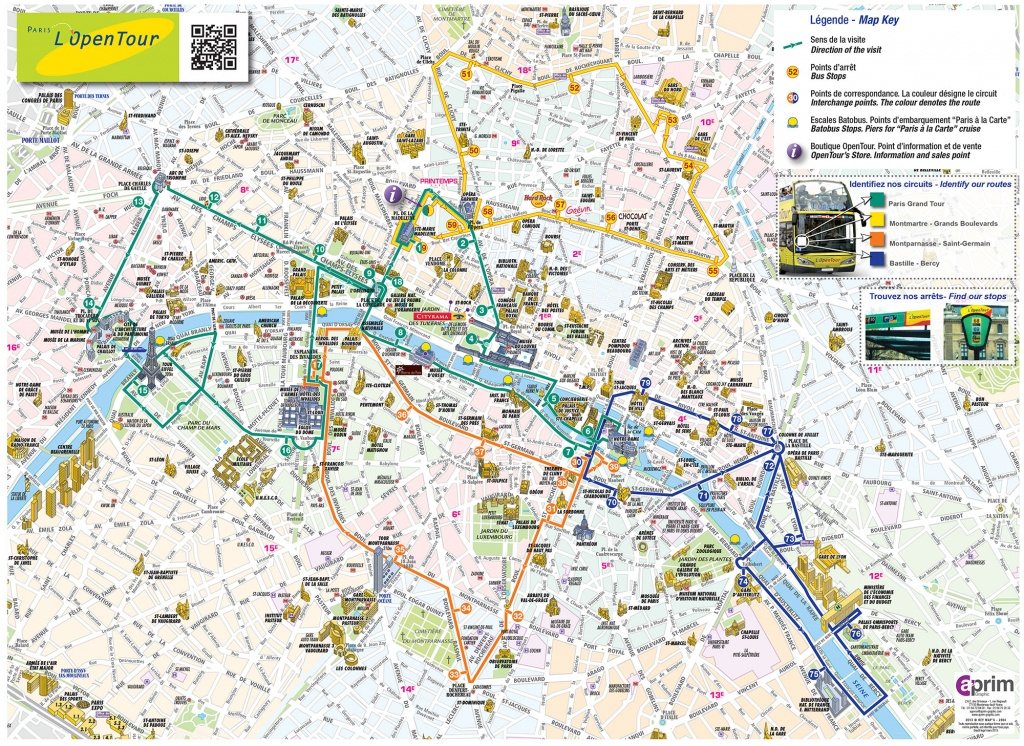 Map Of Paris Tourist Attractions, Sightseeing & Tourist Tour - Printable Map Of Paris Attractions