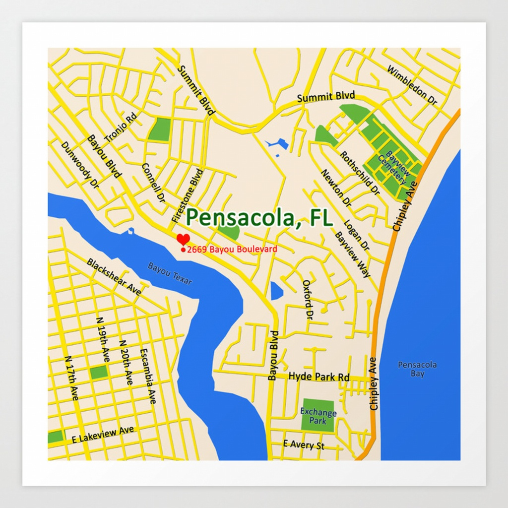 Map Of Pensacola, Fl Art Print - Printable Map Of Pensacola Florida