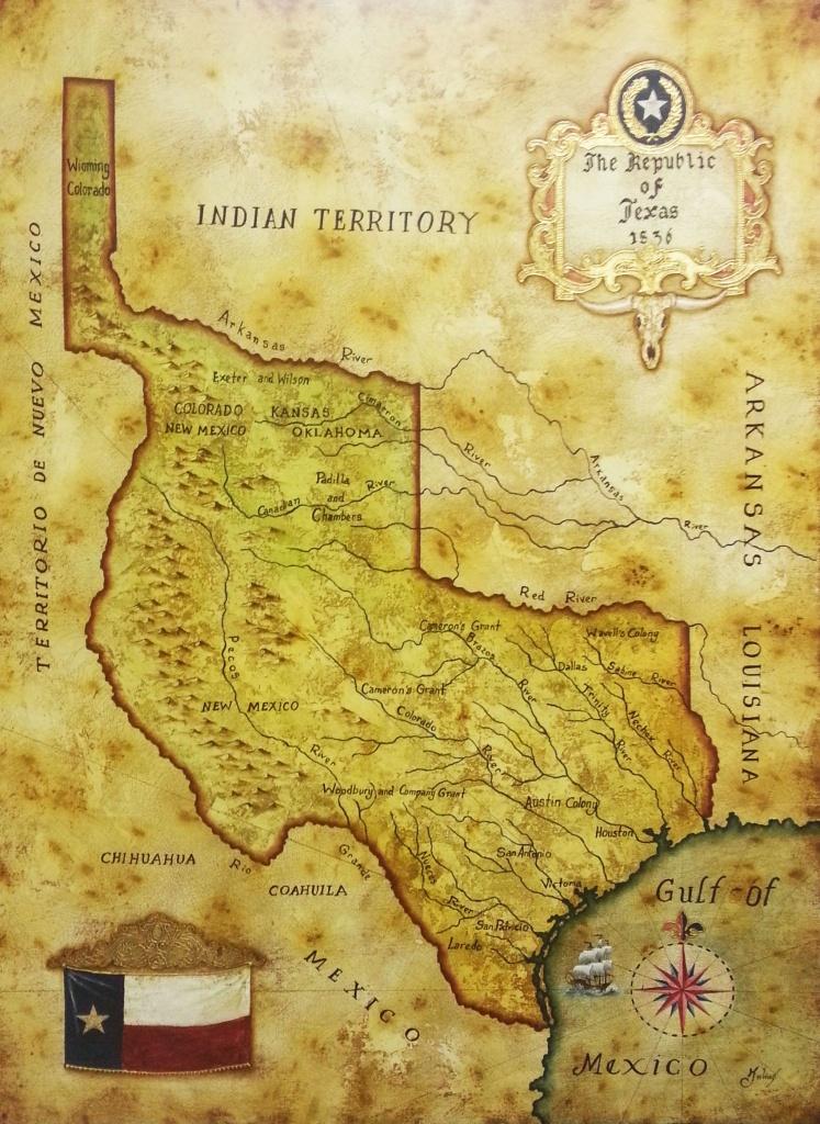 Map Of Republic Of Texas 1836Julius Lira Salazar In 2019 | Texas - Republic Of Texas Map Framed